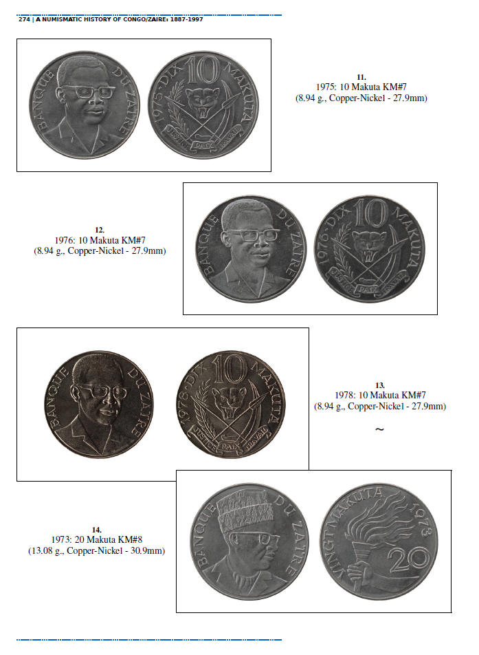 NUMISMATIC HISTORY OF THE CONGO-ZAIRE: 1887-1997, Chapters